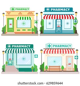 Set of Facade pharmacy stores with a signboard, awning and symbol in shopwindow. Front shop for brochure or banner. Vector illustration