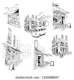 Set of facades of France buildings, shop,store,cafe, restaurant. Hand drawn French architecture. Vector illustration