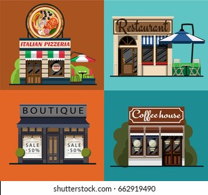 A set of facades of an Italian pizzeria, restaurant, boutique, cafe in a flat style.