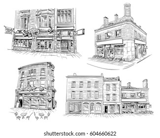 Set of facades of London buildings, shop,store,cafe, pub. Hand drawn English architecture. Vector illustration