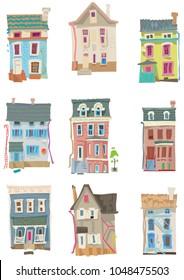 Set of facades of vintage privat little houses. Cartoon.