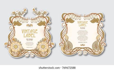 Set of face and back labels for products or cosmetics in art nouveau style, vintage, old, retro style.  Stock vector illustration.