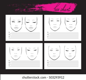 Set Face chart Makeup Artist Blank. Template. Vector illustration.