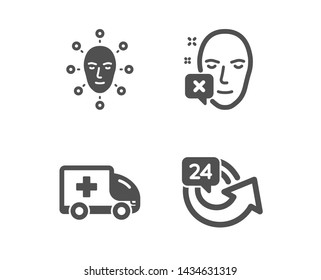 Set of Face declined, Ambulance emergency and Face biometrics icons. 24 hours sign. Identification error, Medical transport, Facial recognition. Repeat.  Classic design face declined icon. Flat design