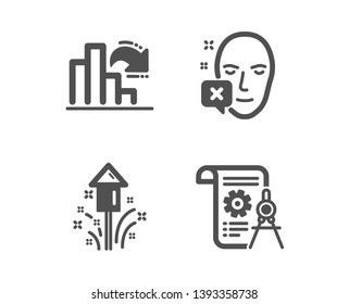 Set of Face declined, Fireworks and Decreasing graph icons. Divider document sign. Identification error, Christmas pyrotechnic, Column chart. Report file.  Classic design face declined icon. Vector