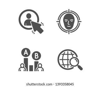 Set of Face detect, Ab testing and User icons. Web search sign. Select target, Test chart, Project manager. Find internet.  Classic design face detect icon. Flat design. Vector