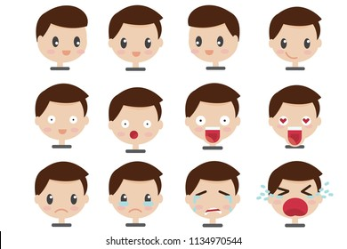 Set of Face expressions of a brown haired man in ifferent male emotions  cute cartoon character. eps10 Vector illustration isolated on white background