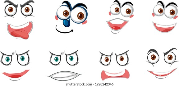 Set of face expressions isolated on white background illustration