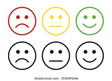 Set of face icons with negative, neutral and positive opinion vector illustration
