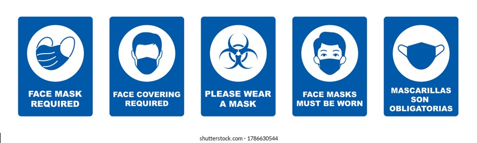 Set of face mask required vector signs. Facemask or covering must be worn in shops or public spaces during coronavirus covid-19 social distancing pandemic. Variety set of vector icons and slogan signs
