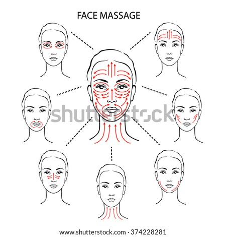 Set cute womans head basic massage stock vector (royalty free.