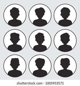 Set of face men icons. Black silhouettes, round icons. Vector illustration