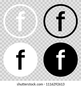 Set Facebook icons. Set of web icons on geometric background. Set for letter F. Facebook vector icon