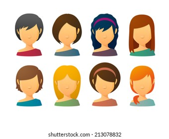 Set of faceless female avatars with various hair styles
