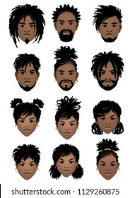 Set of faces of black men and girl with dreadlocks and different hairstyles. Vector illustration.