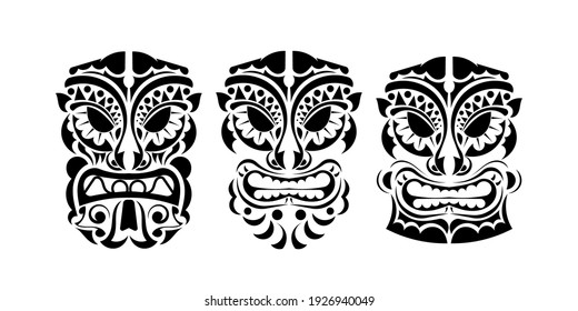 Set of faces of devils in ornament style. Polynesian, Maori or Hawaiian tribal patterns. Good for prints, tattoos, and t-shirts. Isolated. Vector illustration.