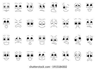 A set of faces with different emotions. Vector icons in cartoon style isolated on white.