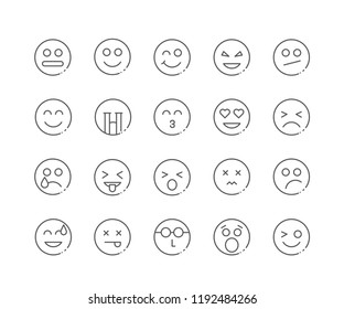 Set of Faces and Emoji outline icons isolated on white background. Editable Stroke. 64x64 Pixel Perfect.