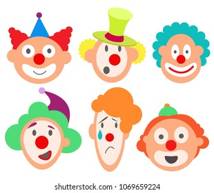 Set faces funny cute sweet clowns of various emotions. Laughter, joy, sorrow, sadness, happiness, fun, crying. Curly heads, funny hats, red noses Modern vector flat image isolated on white background.