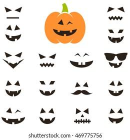 Set of faces for Halloween pumpkin