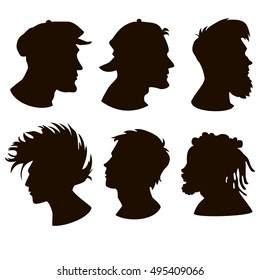 Set of faces: hooligan, skater, hipster, punk, regular and african rasta man.Head Guy profiles. Handsome men Profile Silhouettes.The contour of hair.