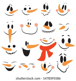 Set of faces of snowmen. Collection of cartoon cute faces of snowmen. Vector illustration for children.