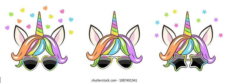 set faces of a unicorn with sun glasses. Can be used for baby t-shirt print, fashion print design, kids wear, baby shower celebration, greeting and invitation card