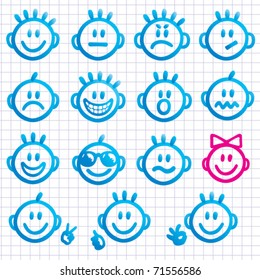 Set of  faces with various emotion expressions. Vector Smileys and emoji.