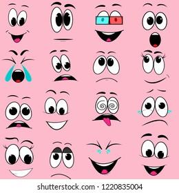 set of facial emotion expression emoticons vector