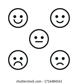 A set of facial emotions. Simple linear illustration on a white background.