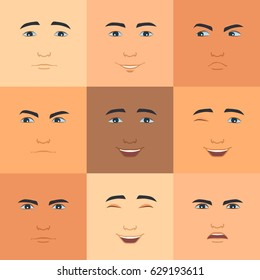 Set of facial expressions. Avatar icons in flat style.