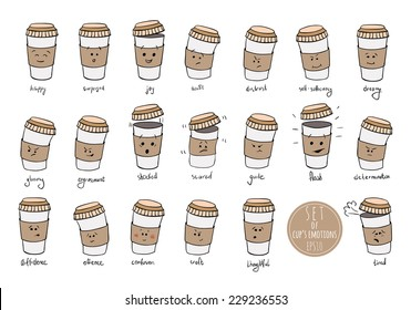 Set of facial  expressions / cup's emotions / emoji