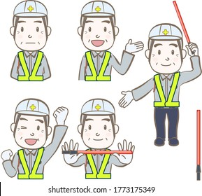 Set of facial expressions and gestures, watchman,A,chibi style
