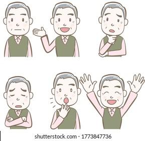 表情としぐさのセット,年配の人々,平服,A