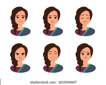 Set facial expressions of Young Indian business woman wearing traditional Indian costume. Indian  Woman Face Covered with national costume. Vector illustration isolated from white background