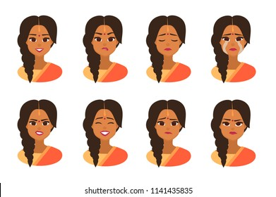 Set facial expressions of Young Indian business woman wearing traditional Indian costume with bindi.Indian  Woman Face Covered with national costume. Vector illustration isolated from white background