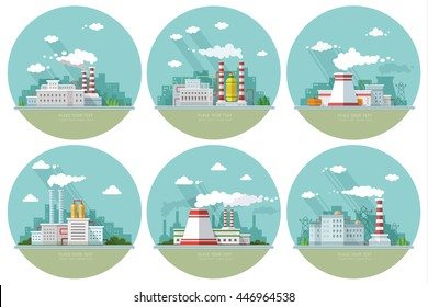 Set factories, nuclear power plant, Flat vector icons for your design