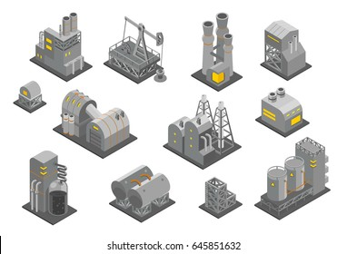 Set factories plant Isometry vector illustration. Oil Industrial production factory