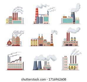Set of Factories and power plants flat design of vector illustration. Manufactory industrial buildings refinery factory or Nuclear Power Stations. Building big of plants or factorys with pipe smoke