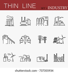 Set of factories related vector line icons.