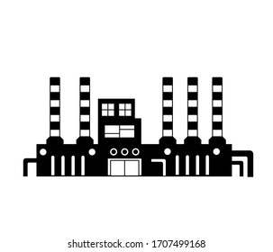 Set of factory buildings. Heavy industry plant building icons. Vector illustration.