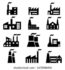 Set of factory icons. Vector symbol industrial factory.