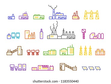 Set of factory illustration production