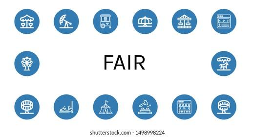Set of fair icons such as Merry go round, Pendulum ride, Ice cream cart, Carousel, Round up ride, Bumper car, Circus tent, Whack a mole, Ferris wheel , fair