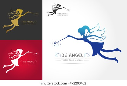 set of Fairy flying logo vector icon silhouette on white background Vector illustration