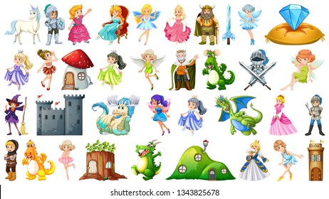 Set of fairy tale character illustration