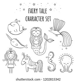 A set of fairy tale characters. Mermaid, Princess, Phoenix, whale, narwhal, unicorn magic octopus sleeping seahorse