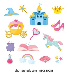 Set of fairy tale elements, icons and illustrations. Magic castle, crown of princess, coach, magic potion, unicorn. Different elements of fairy tales.