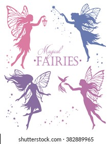 Set of  fairy vector silhouette illustration