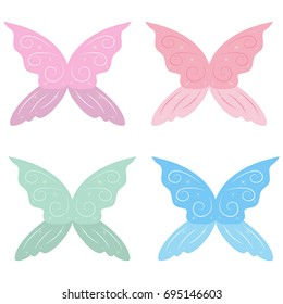 Set of fairy wings isolated on white background.